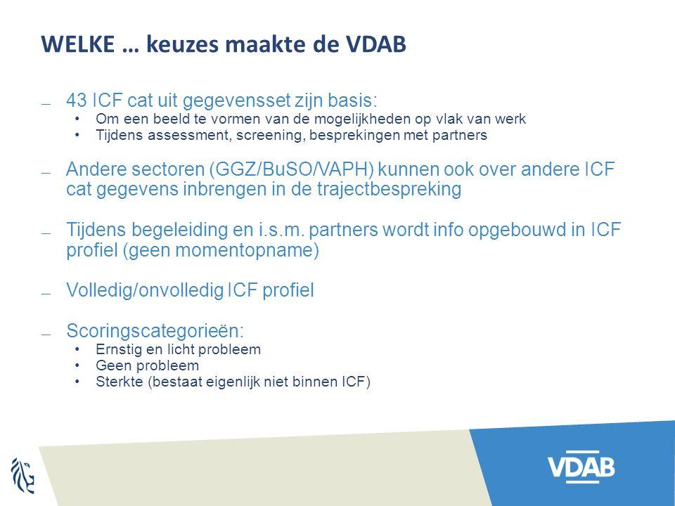 WELKE … keuzes maakte de VDAB  43 ICF cat uit gegevensset zijn basis: Om een beeld te vormen van de mogelijkheden op vlak van werk Tijdens assessment, screening, besprekingen met partners  Andere sectoren (GGZ/BuSO/VAPH) kunnen ook over andere ICF cat gegevens inbrengen in de trajectbespreking  Tijdens begeleiding en i.s.m.