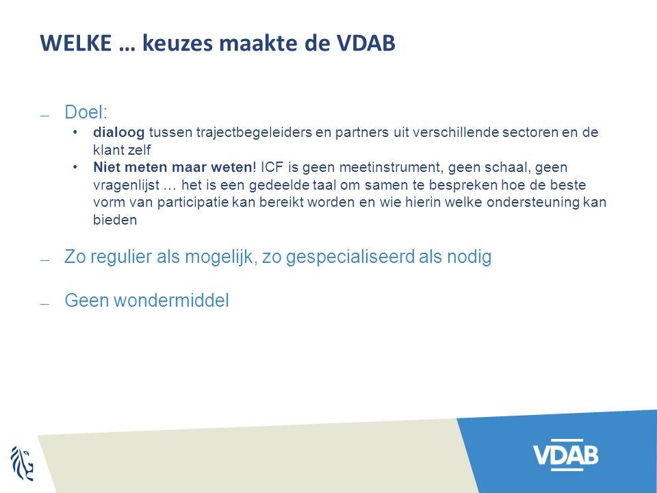 WELKE … keuzes maakte de VDAB  Doel: dialoog tussen trajectbegeleiders en partners uit verschillende sectoren en de klant zelf Niet meten maar weten.