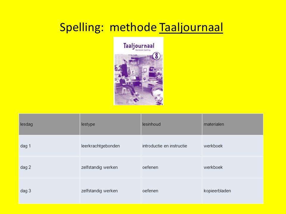 Spelling: methode Taaljournaal lesdaglestypelesinhoudmaterialen dag 1leerkrachtgebondenintroductie en instructiewerkboek dag 2zelfstandig werkenoefene