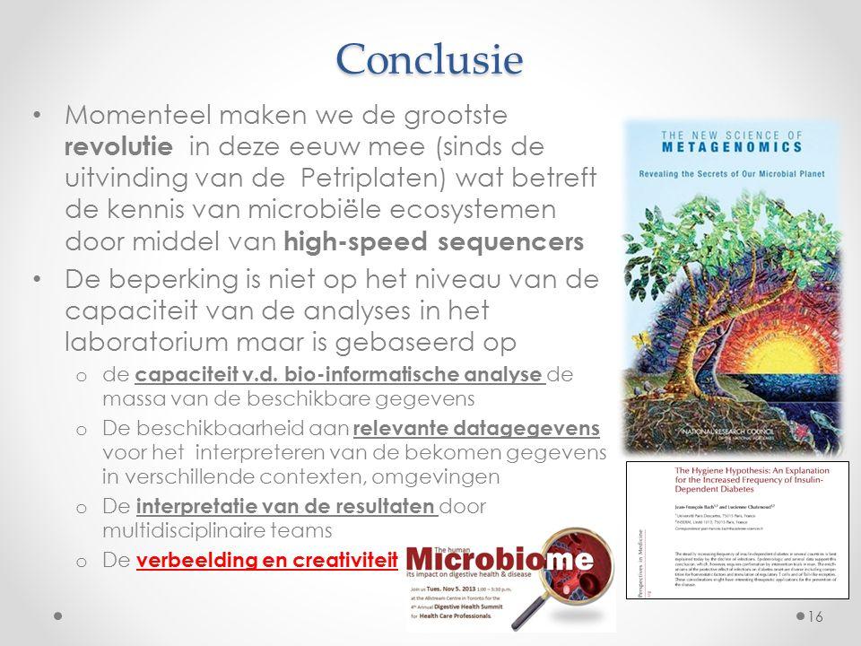 Conclusie Momenteel maken we de grootste revolutie in deze eeuw mee (sinds de uitvinding van de Petriplaten) wat betreft de kennis van microbiële ecos