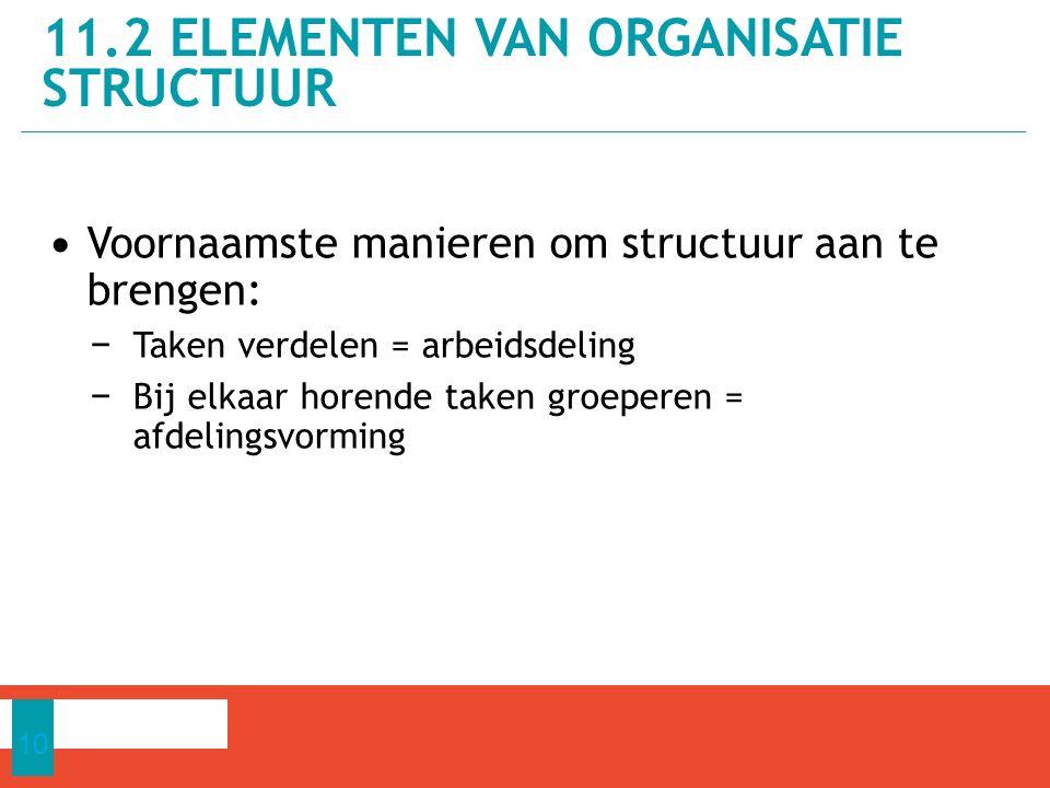 Voornaamste manieren om structuur aan te brengen: − Taken verdelen = arbeidsdeling − Bij elkaar horende taken groeperen = afdelingsvorming 11.2 ELEMENTEN VAN ORGANISATIE STRUCTUUR 10