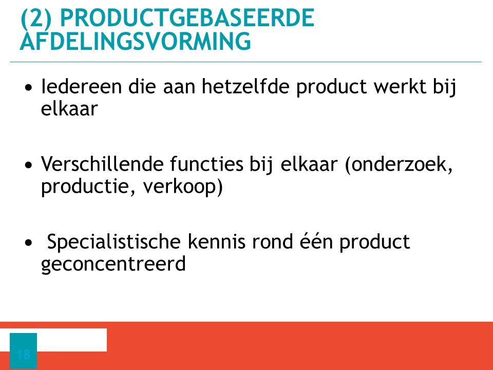 Iedereen die aan hetzelfde product werkt bij elkaar Verschillende functies bij elkaar (onderzoek, productie, verkoop) Specialistische kennis rond één product geconcentreerd 18 (2) PRODUCTGEBASEERDE AFDELINGSVORMING