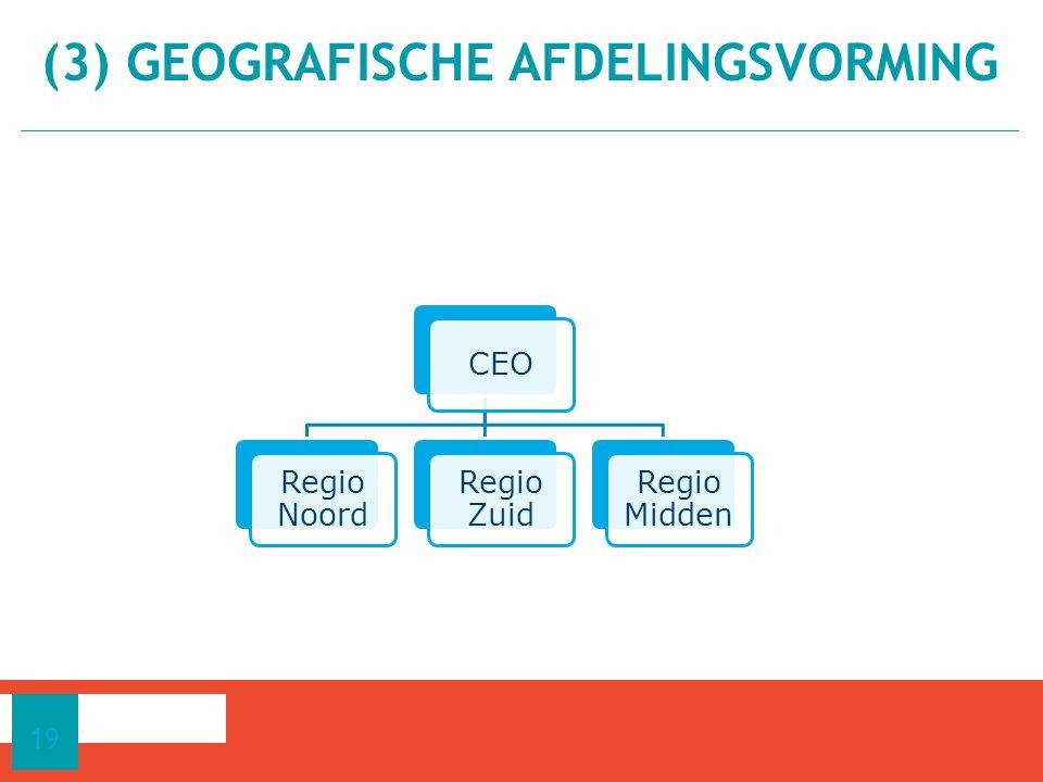 (3) GEOGRAFISCHE AFDELINGSVORMING 19 CEO Regio Noord Regio Zuid Regio Midden