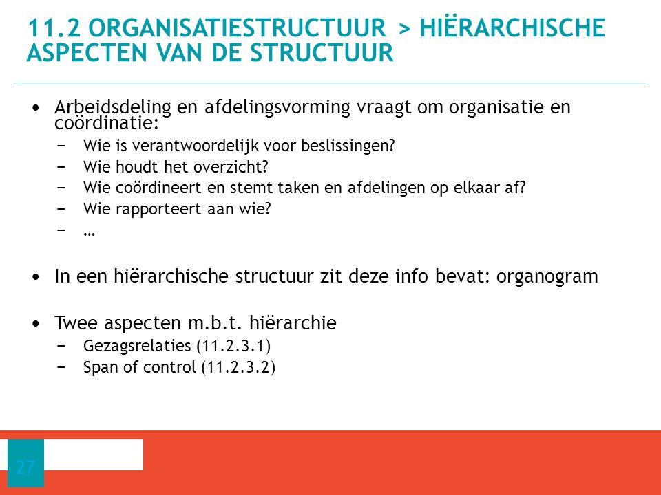 Arbeidsdeling en afdelingsvorming vraagt om organisatie en coördinatie: − Wie is verantwoordelijk voor beslissingen.