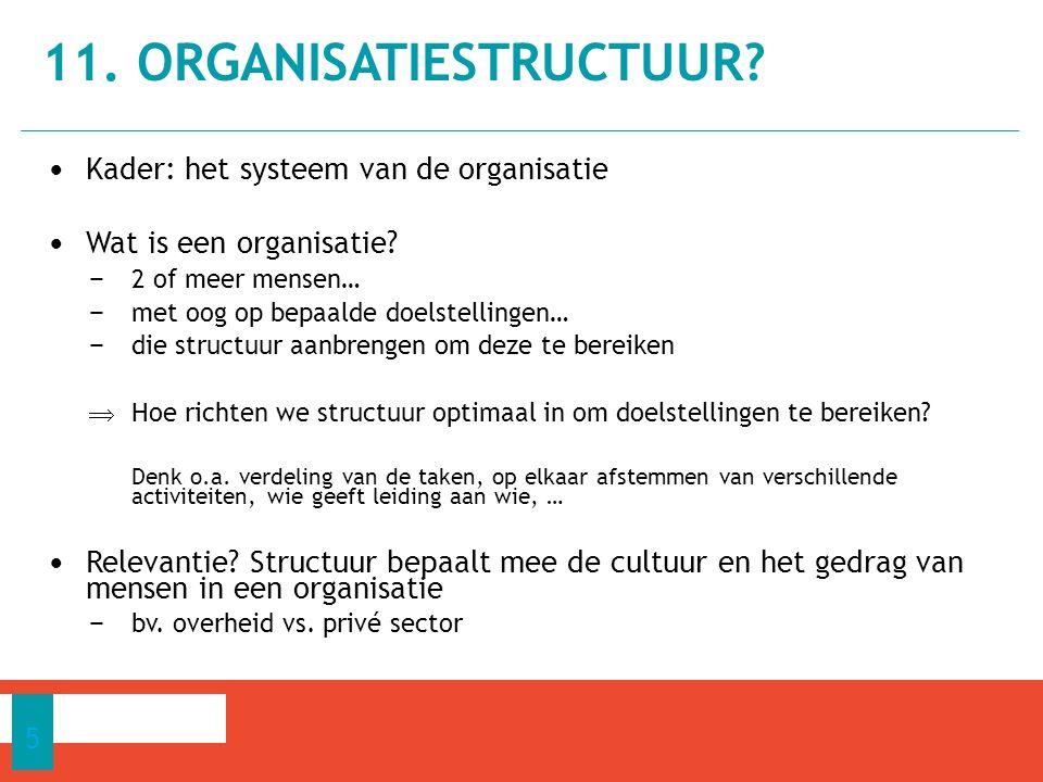 11.ORGANISATIESTRUCTUUR. 5 Kader: het systeem van de organisatie Wat is een organisatie.