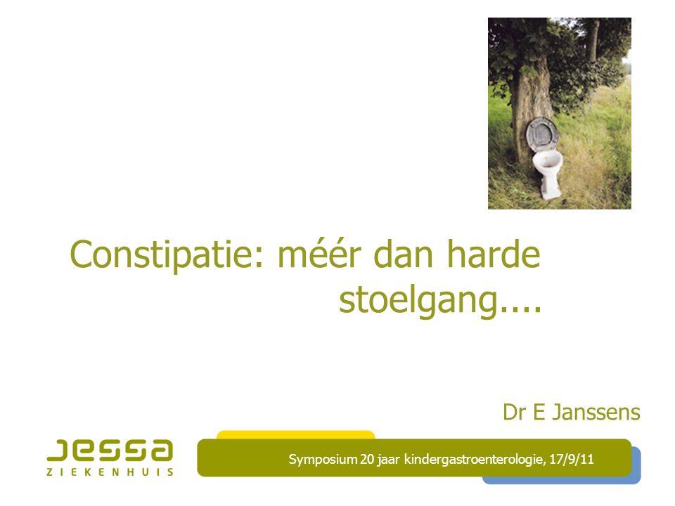 Constipatie: méér dan harde stoelgang....