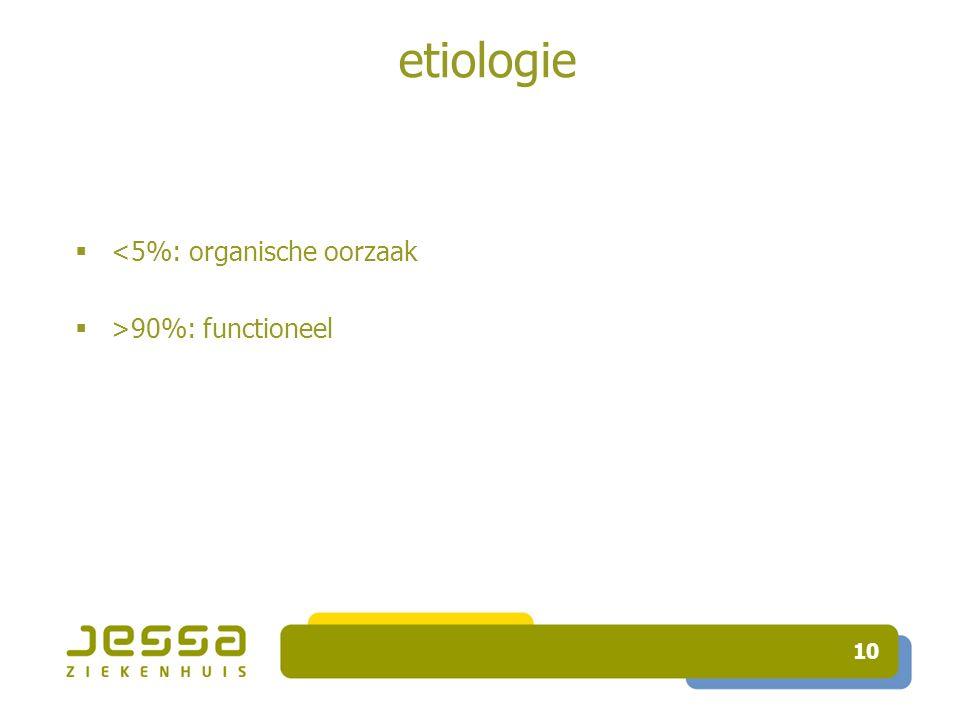 10 etiologie  <5%: organische oorzaak  >90%: functioneel