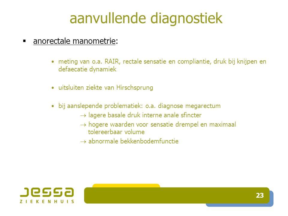 23 aanvullende diagnostiek  anorectale manometrie: meting van o.a.