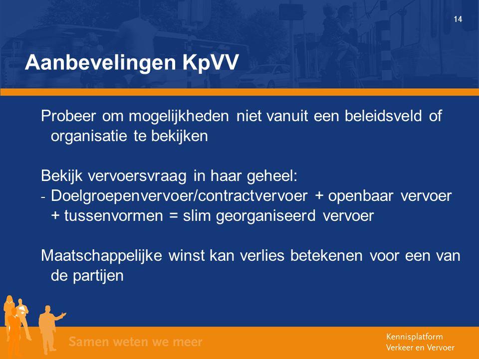 14 Aanbevelingen KpVV Probeer om mogelijkheden niet vanuit een beleidsveld of organisatie te bekijken Bekijk vervoersvraag in haar geheel: - Doelgroepenvervoer/contractvervoer + openbaar vervoer + tussenvormen = slim georganiseerd vervoer Maatschappelijke winst kan verlies betekenen voor een van de partijen