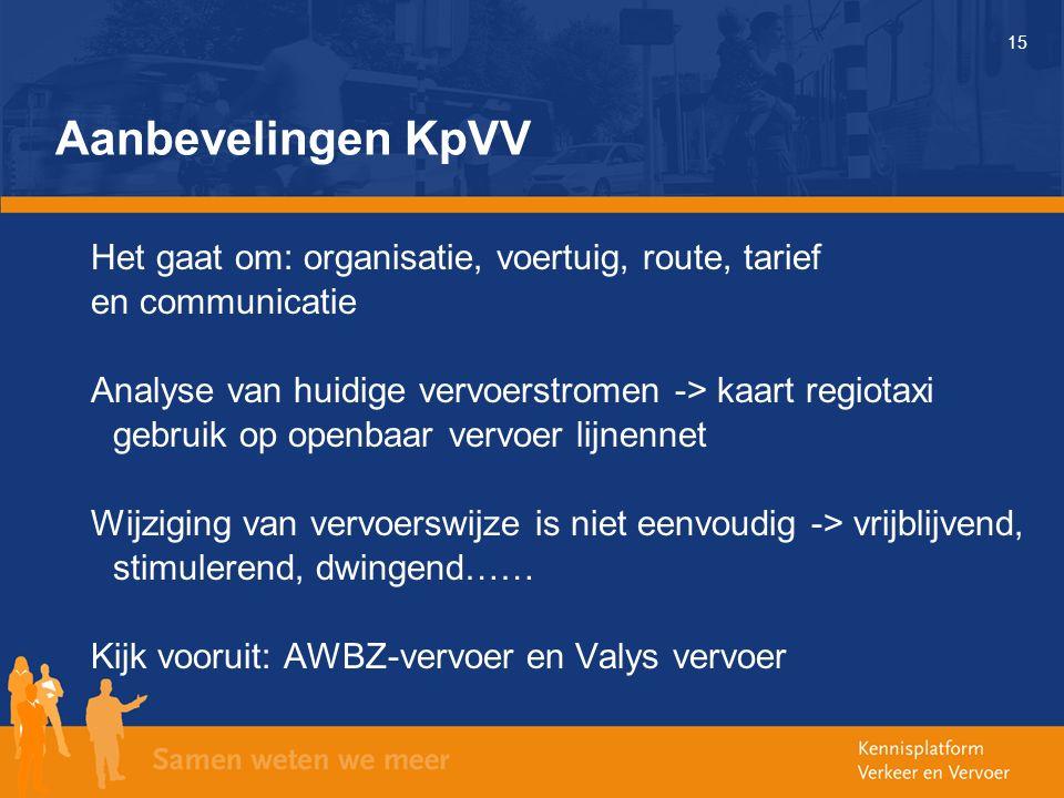 15 Aanbevelingen KpVV Het gaat om: organisatie, voertuig, route, tarief en communicatie Analyse van huidige vervoerstromen -> kaart regiotaxi gebruik op openbaar vervoer lijnennet Wijziging van vervoerswijze is niet eenvoudig -> vrijblijvend, stimulerend, dwingend…… Kijk vooruit: AWBZ-vervoer en Valys vervoer