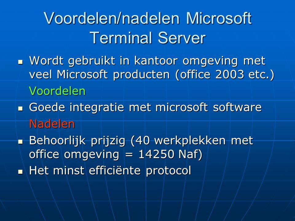 Voordelen/nadelen Microsoft Terminal Server Wordt gebruikt in kantoor omgeving met veel Microsoft producten (office 2003 etc.) Wordt gebruikt in kanto