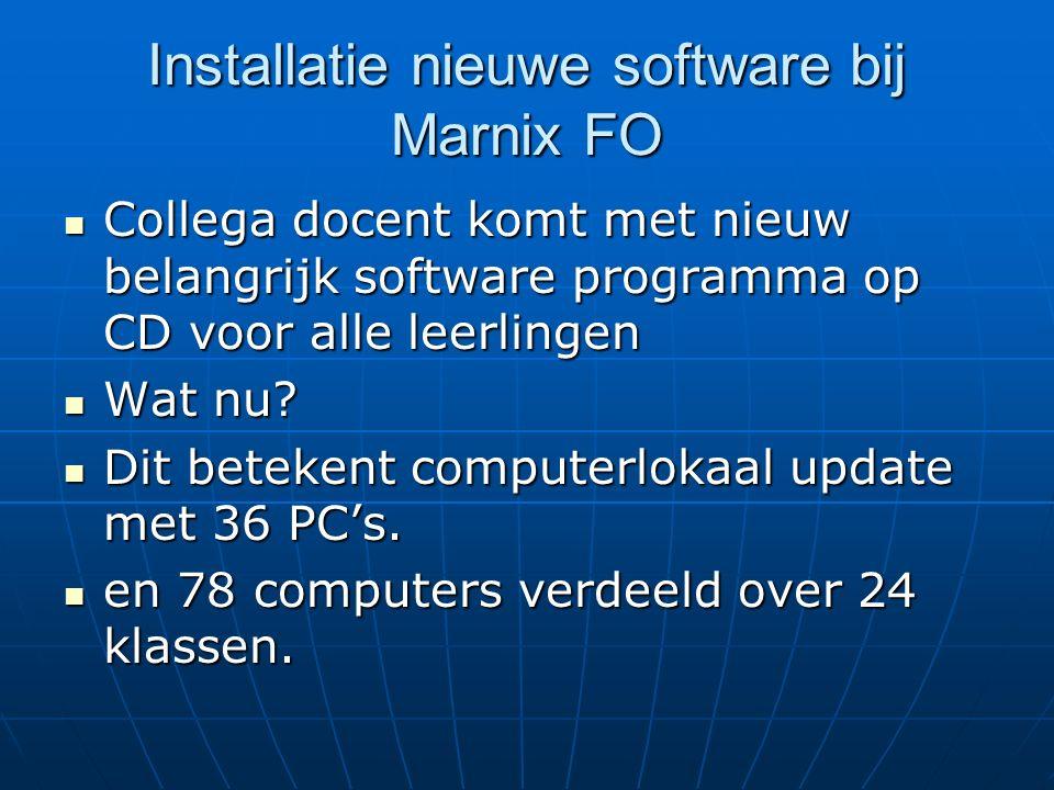 Installatie nieuwe software bij Marnix FO Collega docent komt met nieuw belangrijk software programma op CD voor alle leerlingen Collega docent komt m