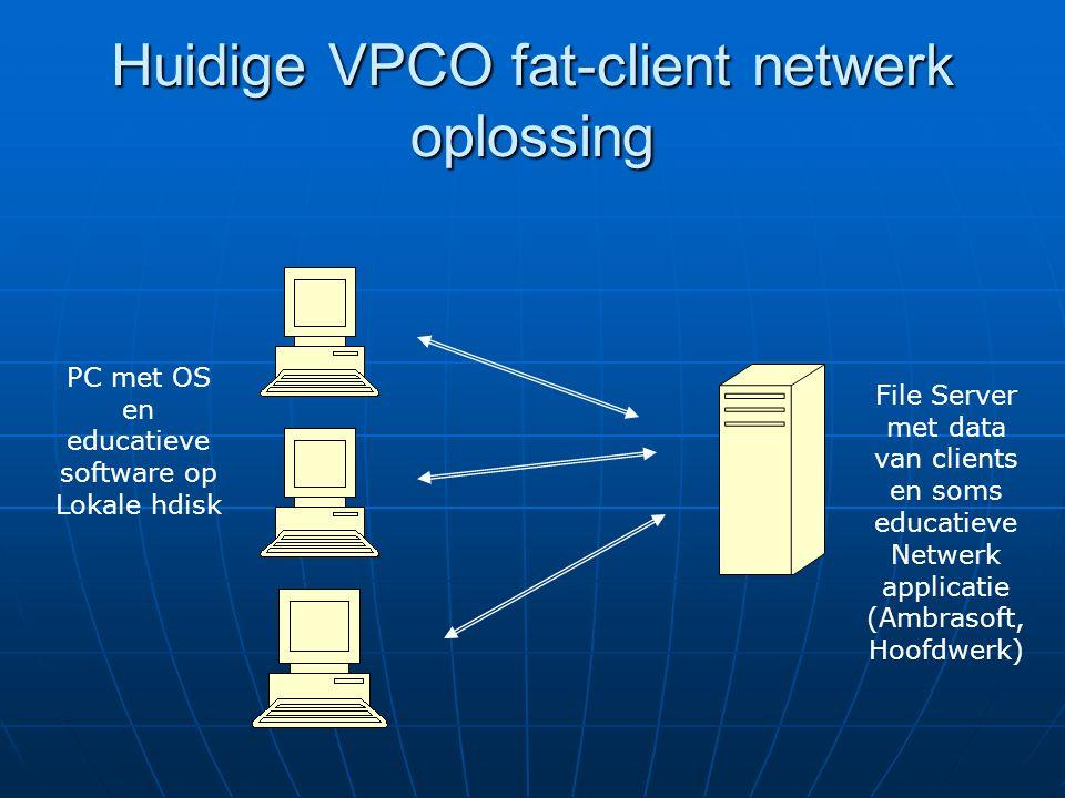 Huidige VPCO fat-client netwerk oplossing PC met OS en educatieve software op Lokale hdisk File Server met data van clients en soms educatieve Netwerk applicatie (Ambrasoft, Hoofdwerk)
