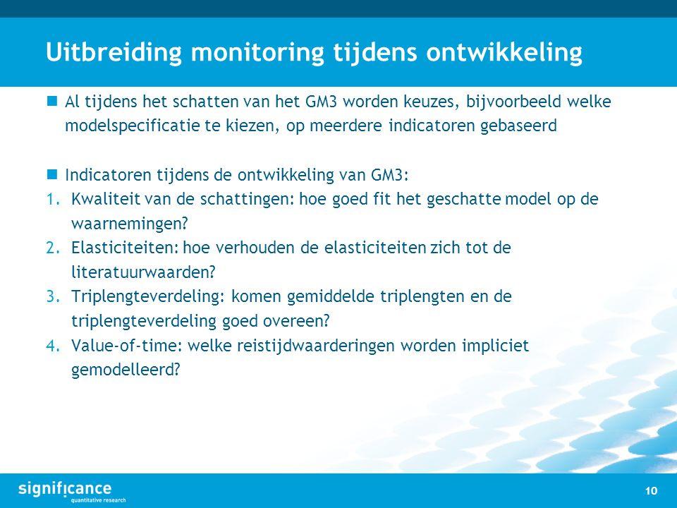 Uitbreiding monitoring tijdens ontwikkeling Al tijdens het schatten van het GM3 worden keuzes, bijvoorbeeld welke modelspecificatie te kiezen, op meer