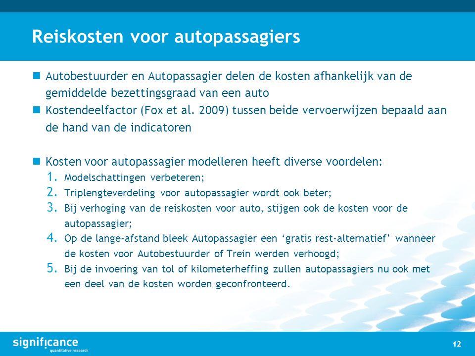 Reiskosten voor autopassagiers Autobestuurder en Autopassagier delen de kosten afhankelijk van de gemiddelde bezettingsgraad van een auto Kostendeelfa