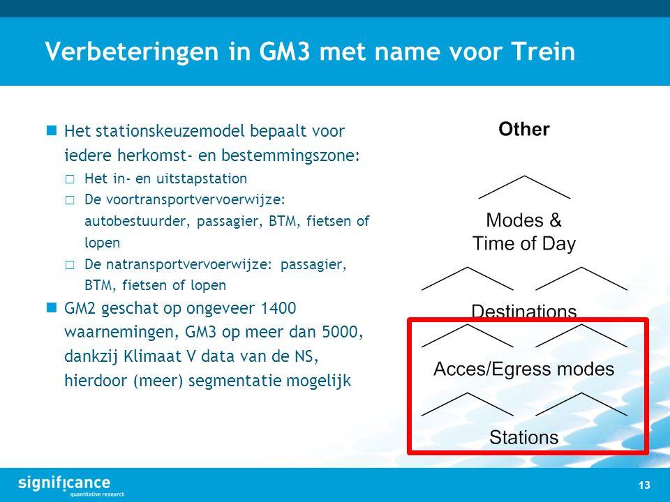 Verbeteringen in GM3 met name voor Trein Het stationskeuzemodel bepaalt voor iedere herkomst- en bestemmingszone: □ Het in- en uitstapstation □ De voo