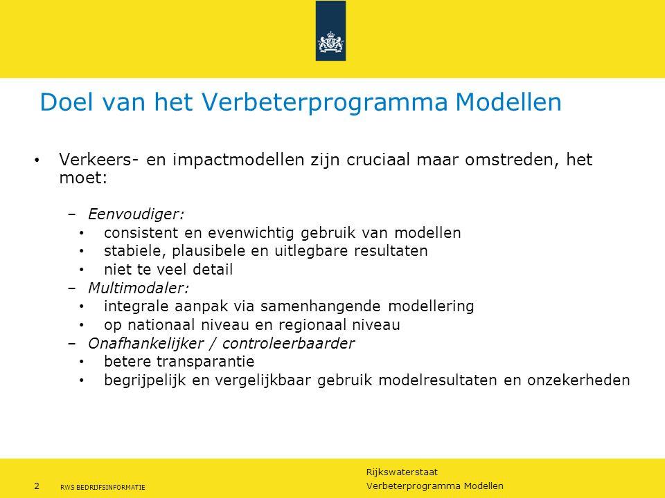 Rijkswaterstaat 2Verbeterprogramma Modellen RWS BEDRIJFSINFORMATIE Doel van het Verbeterprogramma Modellen Verkeers- en impactmodellen zijn cruciaal m