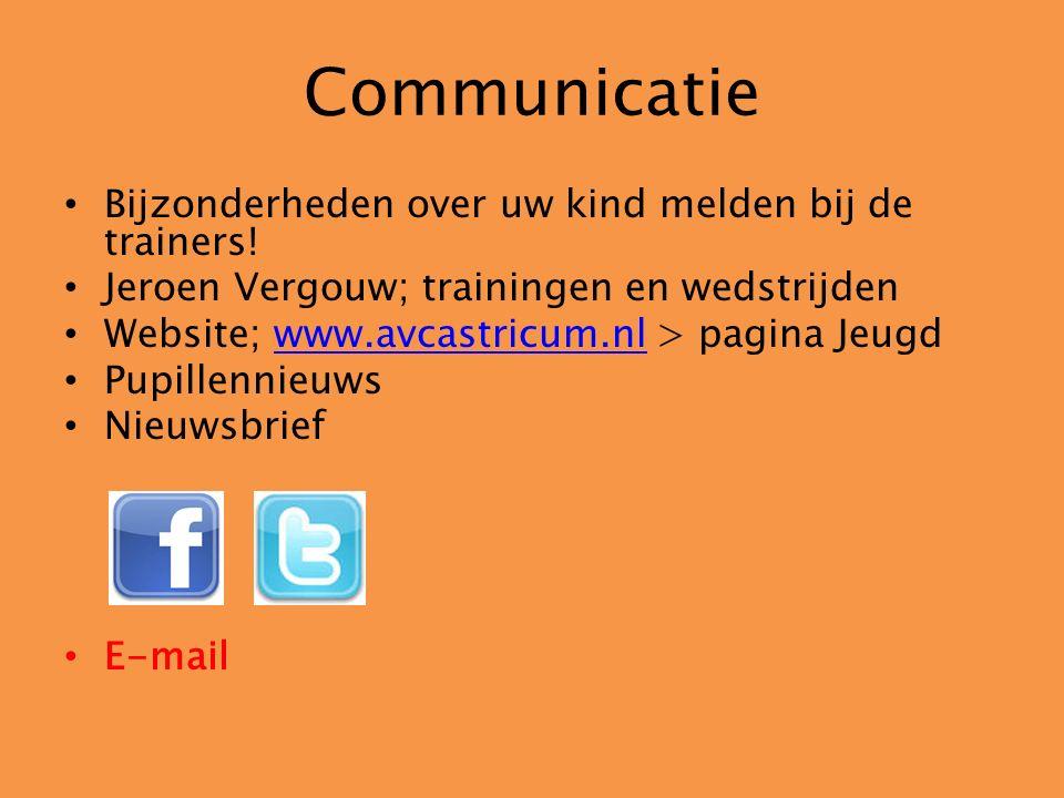 Communicatie Bijzonderheden over uw kind melden bij de trainers! Jeroen Vergouw; trainingen en wedstrijden Website; www.avcastricum.nl > pagina Jeugdw