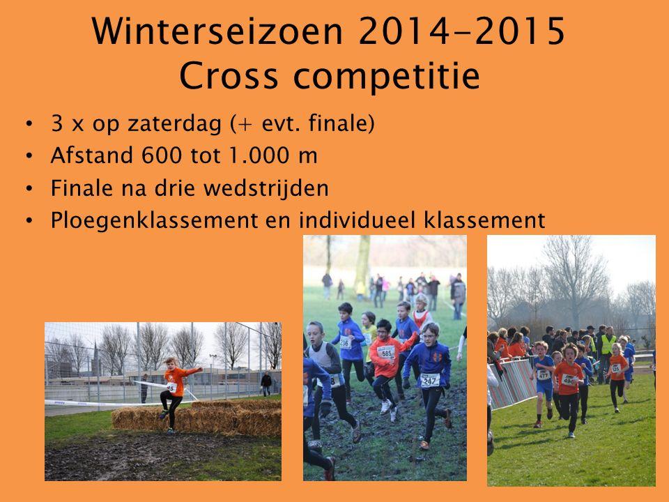 Winterseizoen 2014-2015 Cross competitie 3 x op zaterdag (+ evt. finale) Afstand 600 tot 1.000 m Finale na drie wedstrijden Ploegenklassement en indiv