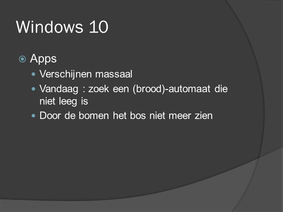 Windows 10  Apps Verschijnen massaal Vandaag : zoek een (brood)-automaat die niet leeg is Door de bomen het bos niet meer zien