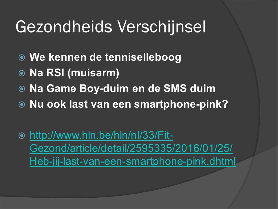 Gezondheids Verschijnsel  We kennen de tenniselleboog  Na RSI (muisarm)  Na Game Boy-duim en de SMS duim  Nu ook last van een smartphone-pink?  h