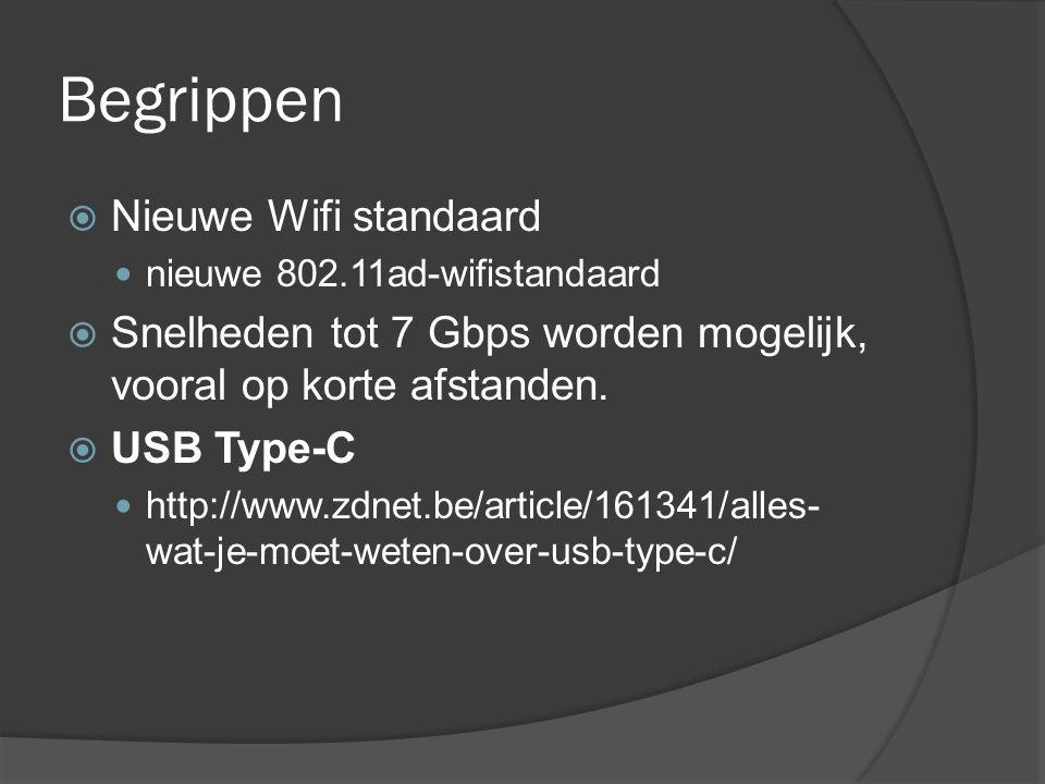 Begrippen  Nieuwe Wifi standaard nieuwe 802.11ad-wifistandaard  Snelheden tot 7 Gbps worden mogelijk, vooral op korte afstanden.