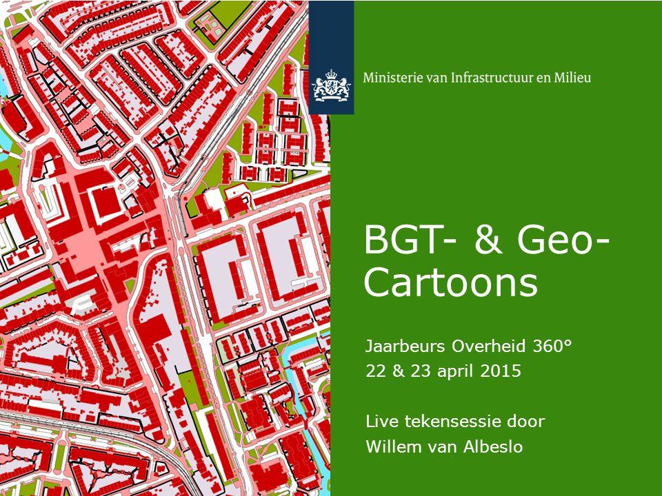 Delen en gebruiken van BGT- en Geo- Cartoons Cartoontekenaar Willem van Albeslo deed op 22 en 23 april 2015 tijdens de Jaarbeurs Overheid 360° live verslag van het dorpsplein Nieuw-Durperdam: een pop-up city op de beursvloer, waar bezoekers door de BGT en haar partners in de geosector uitgedaagd werden om na te denken over de toepassing van geo-voorzieningen.