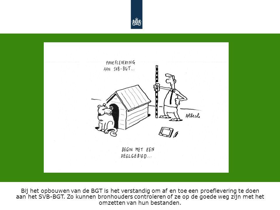 Bij het opbouwen van de BGT is het verstandig om af en toe een proeflevering te doen aan het SVB-BGT.