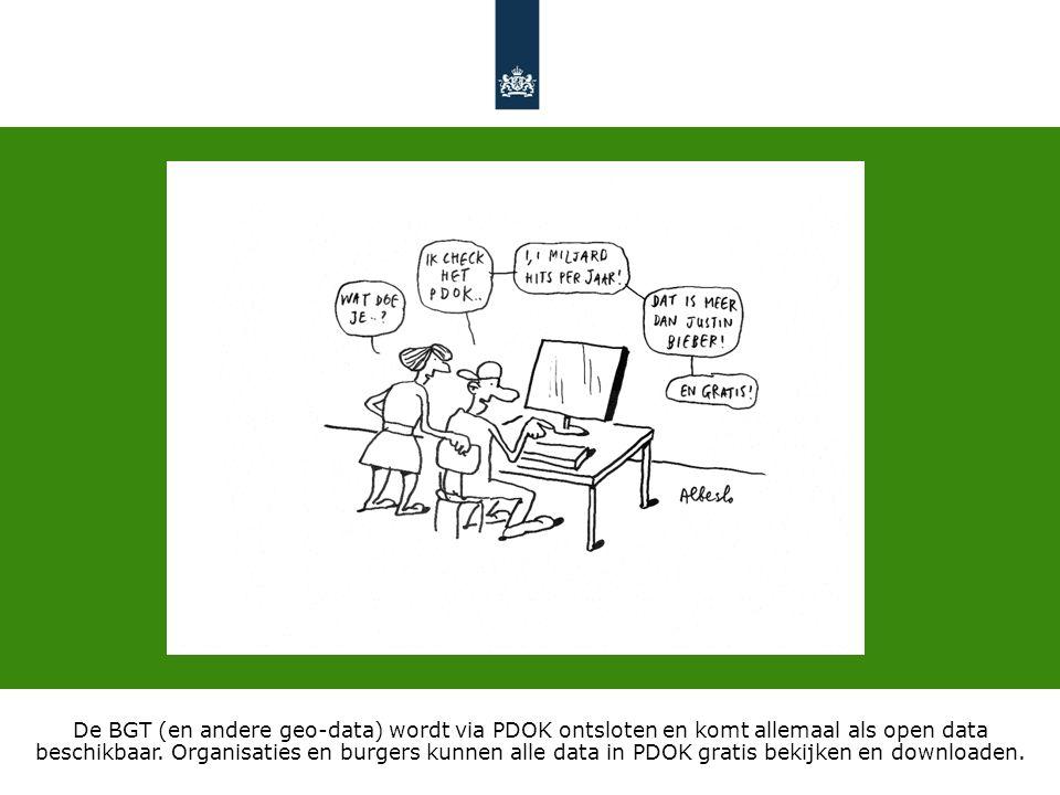 De BGT (en andere geo-data) wordt via PDOK ontsloten en komt allemaal als open data beschikbaar.