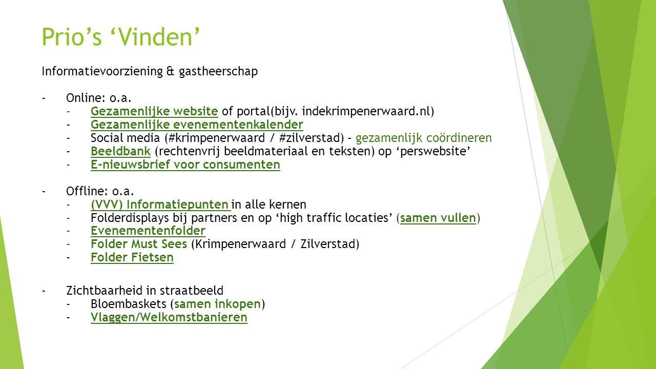 Prio's 'Vinden' Informatievoorziening & gastheerschap - Online: o.a.