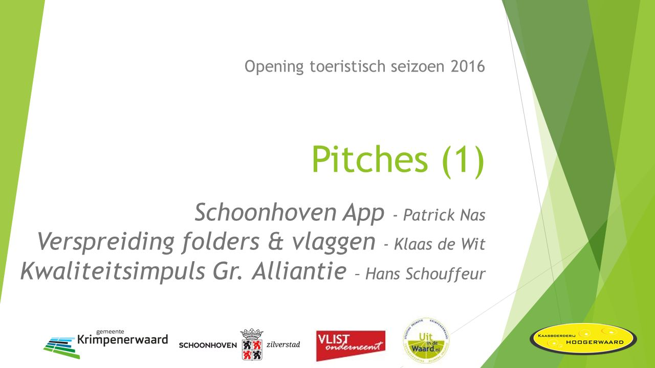 Opening toeristisch seizoen 2016 Pitches (1) Schoonhoven App - Patrick Nas Verspreiding folders & vlaggen - Klaas de Wit Kwaliteitsimpuls Gr.