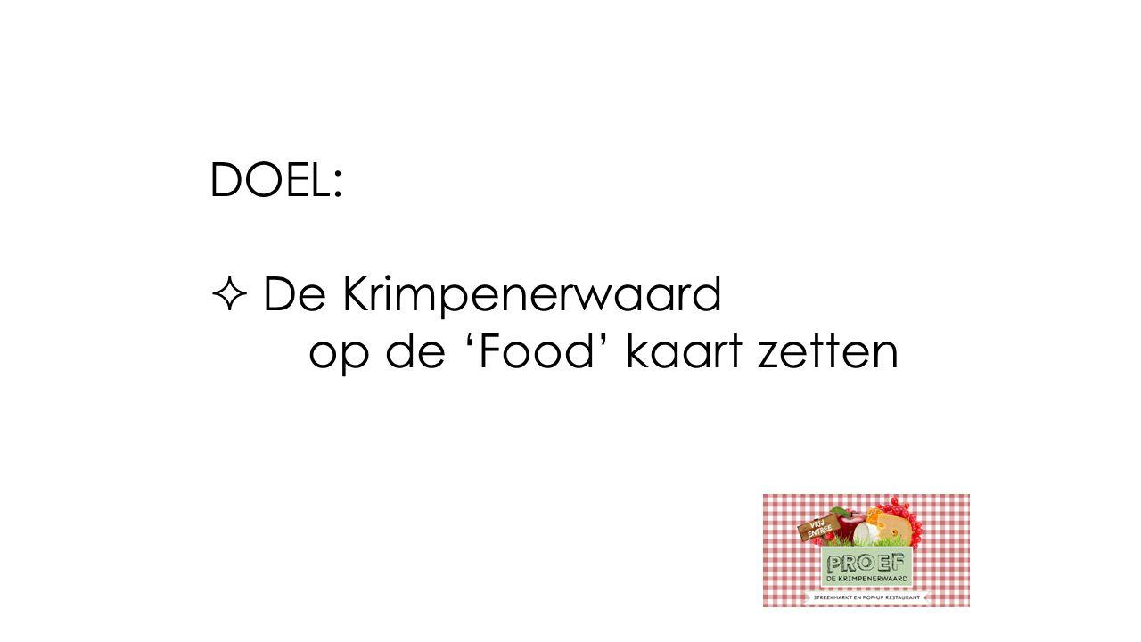 DOEL:  De Krimpenerwaard op de 'Food' kaart zetten