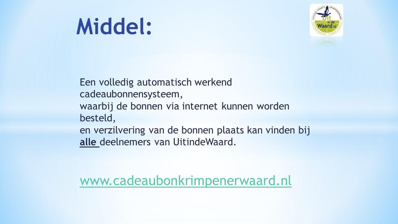 Een volledig automatisch werkend cadeaubonnensysteem, waarbij de bonnen via internet kunnen worden besteld, en verzilvering van de bonnen plaats kan vinden bij alle deelnemers van UitindeWaard.