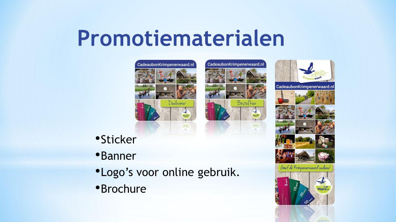 Sticker Banner Logo's voor online gebruik. Brochure Promotiematerialen