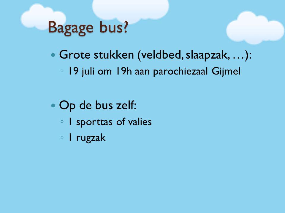 Bagage bus? Grote stukken (veldbed, slaapzak, …): ◦ 19 juli om 19h aan parochiezaal Gijmel Op de bus zelf: ◦ 1 sporttas of valies ◦ 1 rugzak
