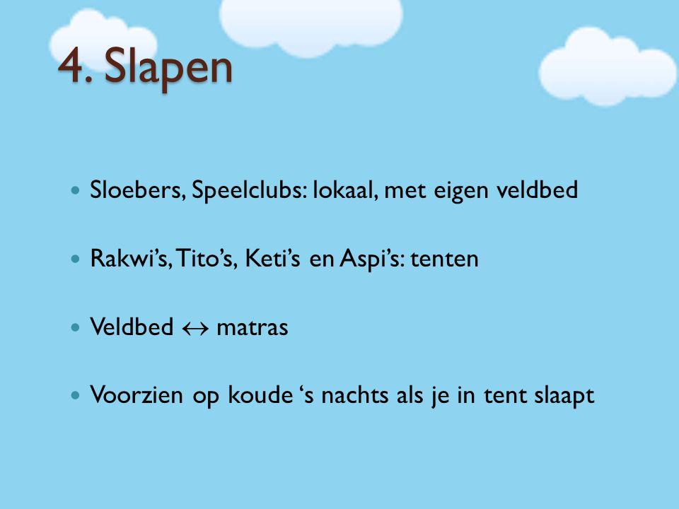 4. Slapen Sloebers, Speelclubs: lokaal, met eigen veldbed Rakwi's, Tito's, Keti's en Aspi's: tenten Veldbed  matras Voorzien op koude 's nachts als j