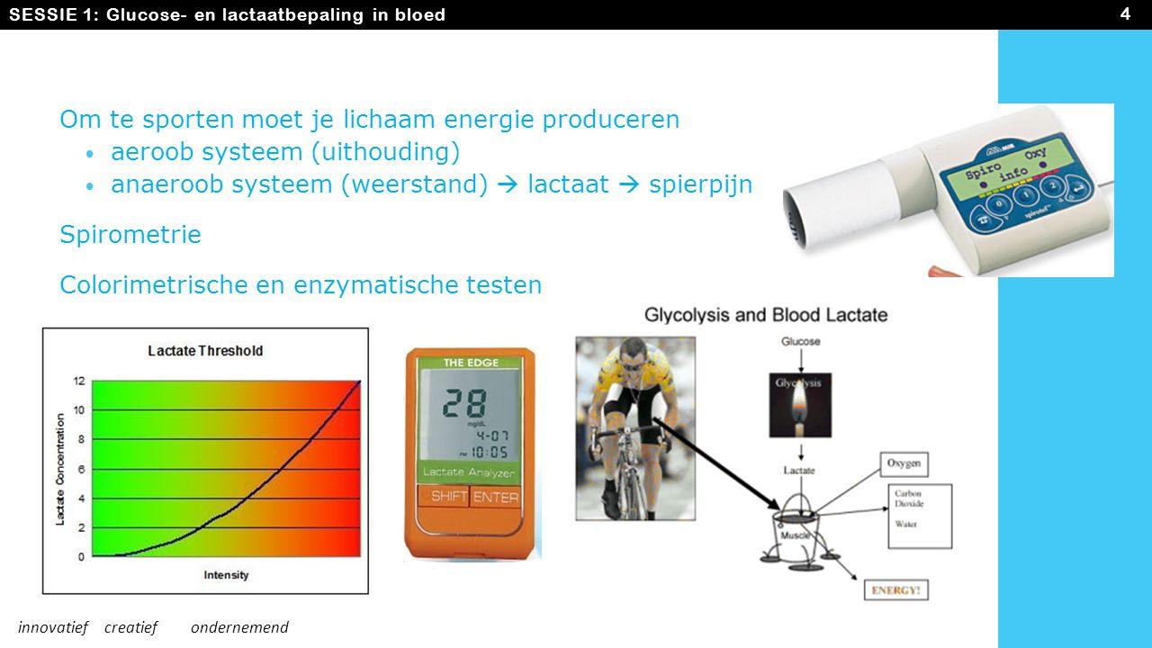 Om te sporten moet je lichaam energie produceren aeroob systeem (uithouding) anaeroob systeem (weerstand)  lactaat  spierpijn Spirometrie Colorimetr