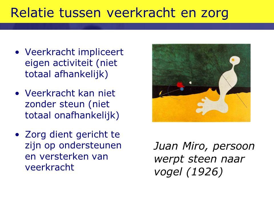 Relatie tussen veerkracht en zorg Veerkracht impliceert eigen activiteit (niet totaal afhankelijk) Veerkracht kan niet zonder steun (niet totaal onafhankelijk) Zorg dient gericht te zijn op ondersteunen en versterken van veerkracht Juan Miro, persoon werpt steen naar vogel (1926)