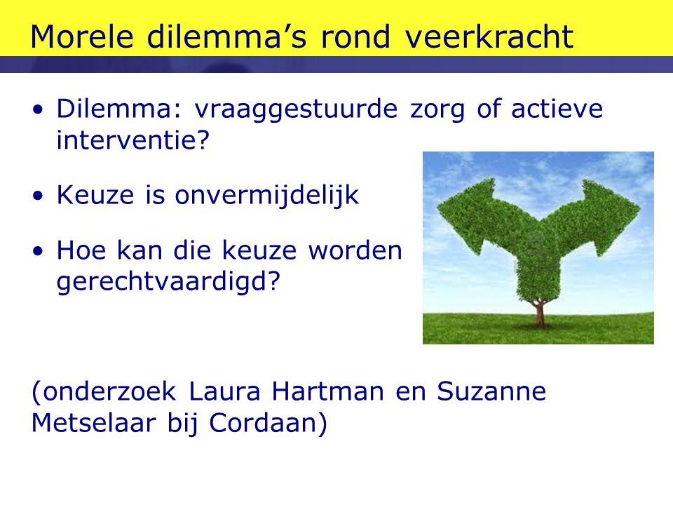 Morele dilemma's rond veerkracht Dilemma: vraaggestuurde zorg of actieve interventie.