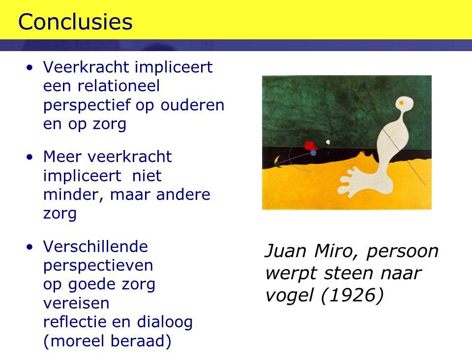 Conclusies Veerkracht impliceert een relationeel perspectief op ouderen en op zorg Meer veerkracht impliceert niet minder, maar andere zorg Verschillende perspectieven op goede zorg vereisen reflectie en dialoog (moreel beraad) Juan Miro, persoon werpt steen naar vogel (1926)