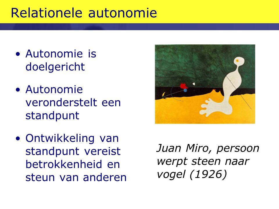 Relationele autonomie Autonomie is doelgericht Autonomie veronderstelt een standpunt Ontwikkeling van standpunt vereist betrokkenheid en steun van anderen Juan Miro, persoon werpt steen naar vogel (1926)