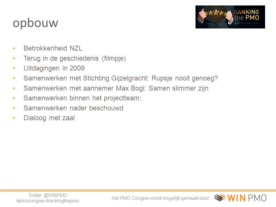 Twitter @WINPMO #pmocongres #rankingthepmo Het PMO Congres wordt mogelijk gemaakt door opbouw Betrokkenheid NZL Terug in de geschiedenis (filmpje) Uitdagingen in 2009 Samenwerken met Stichting Gijzelgracht: Rupsje nooit genoeg.