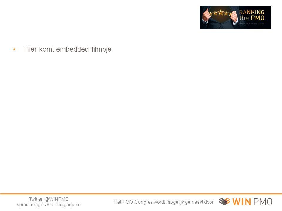 Twitter @WINPMO #pmocongres #rankingthepmo Het PMO Congres wordt mogelijk gemaakt door Uitdagingen begin 2009 Techniek: o Hoe nieuwe verzakkingen voorkomen.