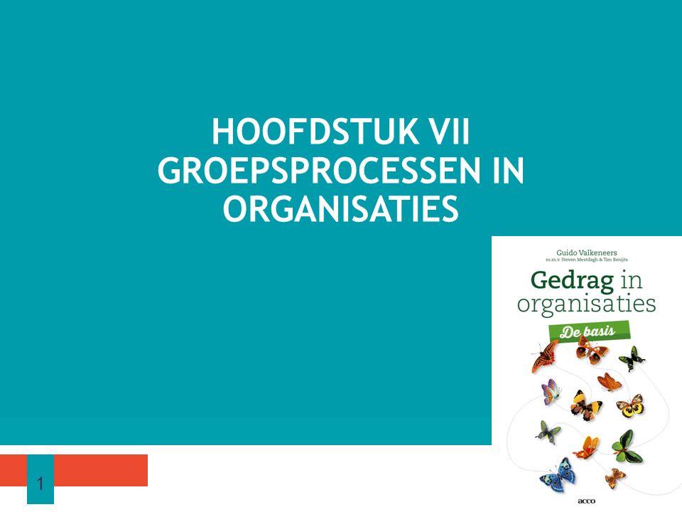 HOOFDSTUK VII GROEPSPROCESSEN IN ORGANISATIES 1