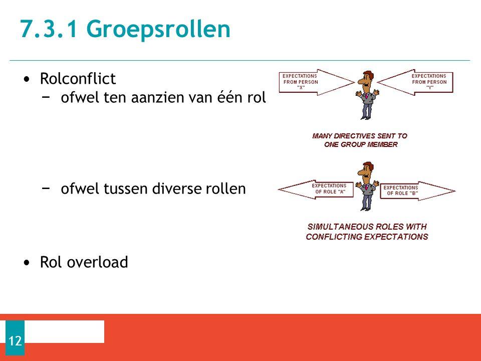 Rolconflict − ofwel ten aanzien van één rol − ofwel tussen diverse rollen Rol overload 7.3.1 Groepsrollen 12