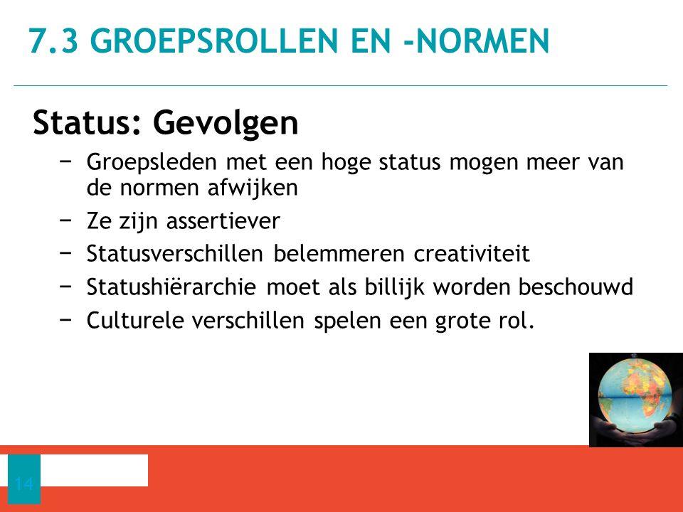 Status: Gevolgen − Groepsleden met een hoge status mogen meer van de normen afwijken − Ze zijn assertiever − Statusverschillen belemmeren creativiteit − Statushiërarchie moet als billijk worden beschouwd − Culturele verschillen spelen een grote rol.