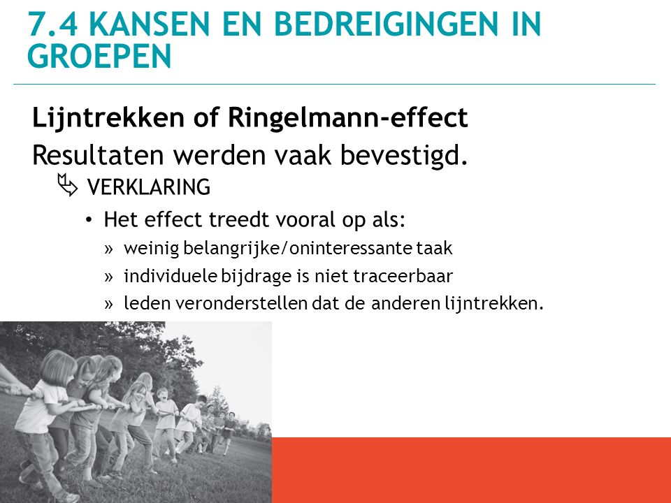 Lijntrekken of Ringelmann-effect Resultaten werden vaak bevestigd.