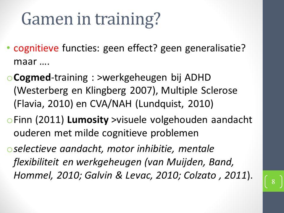 cognitieve functies: geen effect. geen generalisatie.