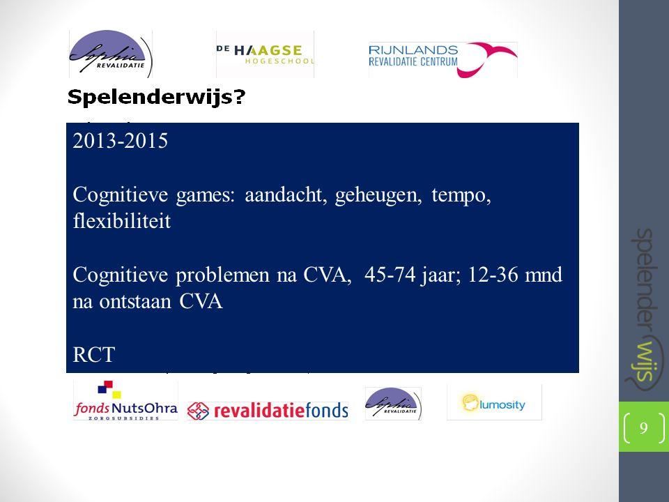 2013-2015 Cognitieve games: aandacht, geheugen, tempo, flexibiliteit Cognitieve problemen na CVA, 45-74 jaar; 12-36 mnd na ontstaan CVA RCT 9