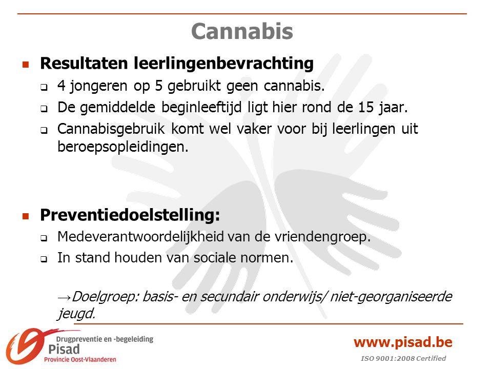 ISO 9001:2008 Certified www.pisad.be Cannabis Resultaten leerlingenbevrachting  4 jongeren op 5 gebruikt geen cannabis.